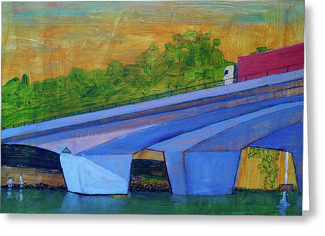 Greeting Card featuring the painting Brunswick River Bridge by Paul McKey