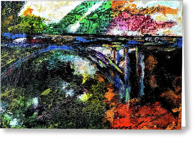 Greeting Card featuring the mixed media Brush Creek Bridge by Lisa McKinney