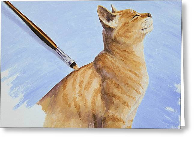 Brushing The Cat Greeting Card