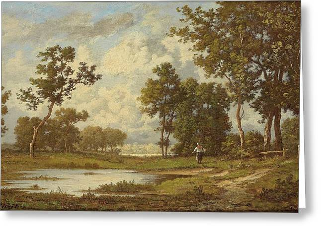 Brushwood Collector At The Pond Greeting Card