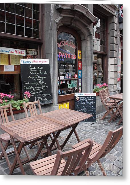 Table And Chairs Photographs Greeting Cards - Brussels - Restaurant Chez Patrick Greeting Card by Carol Groenen