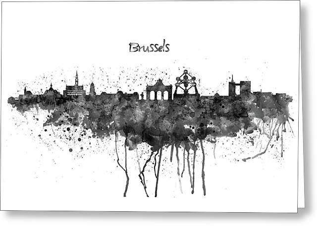 Brussels Black And White Skyline Silhouette Greeting Card by Marian Voicu