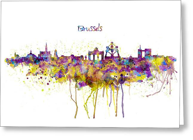 Brussels Skyline Silhouette Greeting Card by Marian Voicu