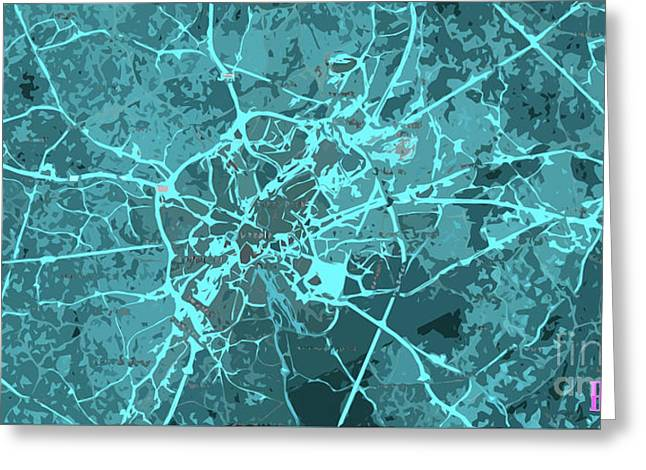 Brussels Traffic Abstract Blue Map And Cyan Greeting Card