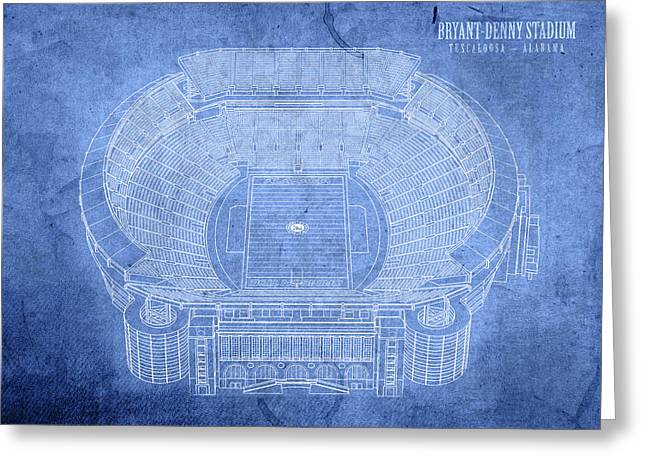 Bryant Denny Stadium Alabama Crimson Tide Football Tuscaloosa Field Blueprints Greeting Card by Design Turnpike
