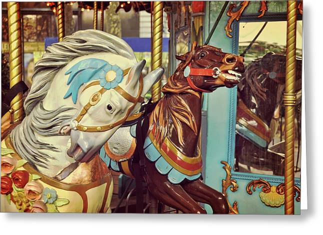 Bryant Park Carrousel Greeting Card by JAMART Photography