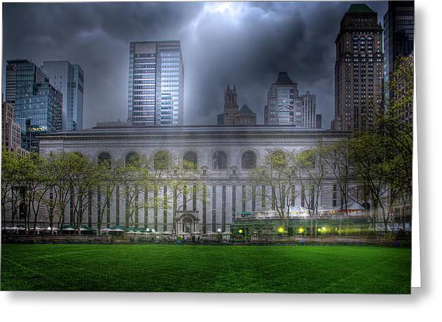 Bryant Park Greeting Card by Mark Andrew Thomas