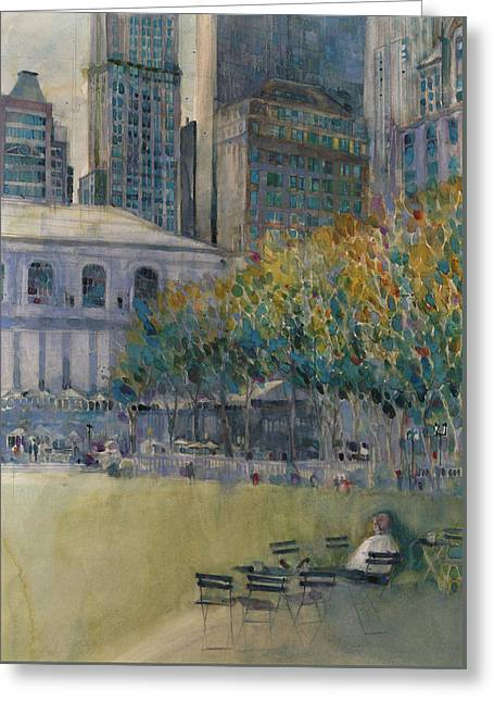 Bryant Park, New York City Greeting Card by Dorrie Rifkin