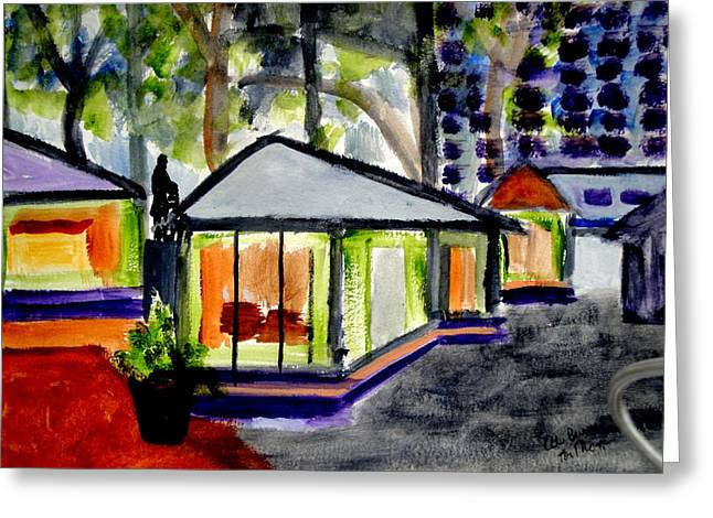 Bryant Park Nyc - Abstract Greeting Card by Albert Bercume
