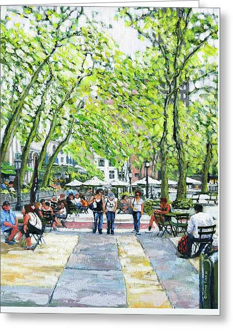 Bryant Park Nyc Greeting Card by Thomas Michael Meddaugh