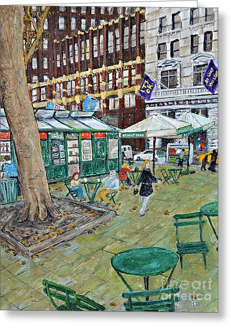 Bryant Park Greeting Card by Richard Wandell