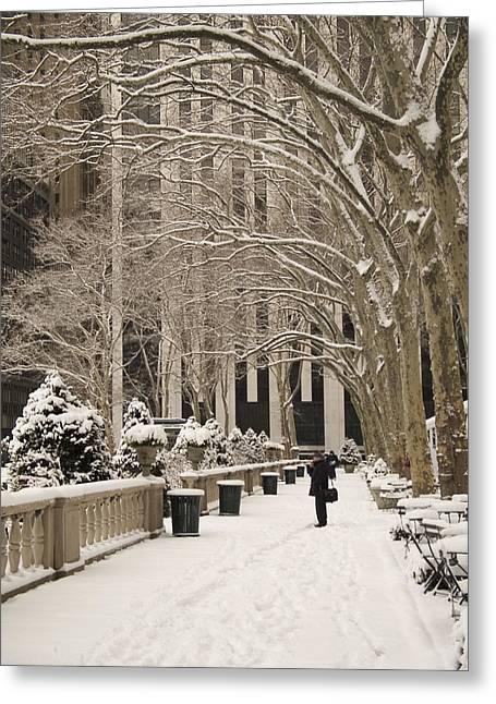 Bryant Park Snow Greeting Card by Andrew Kazmierski
