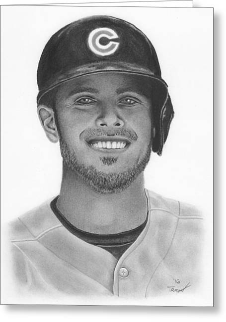 Kris Bryant Greeting Card by Tim Trojan