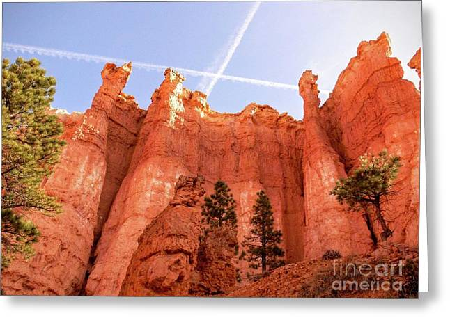 Bryce Canyon Hoodoos With Contrails Greeting Card by Rincon Road Photography By Ben Petersen
