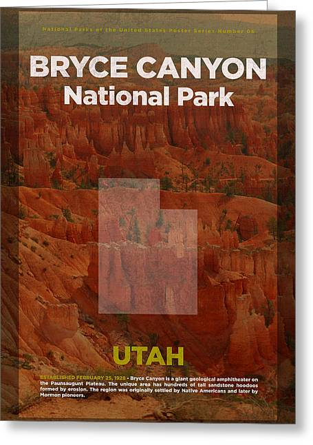 Bryce Canyon National Park In Utah Travel Poster Series Of National Parks Number 06 Greeting Card by Design Turnpike