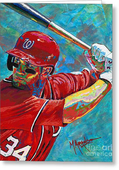 Bryce Harper Greeting Card by Maria Arango