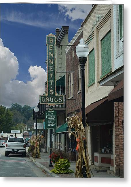 Bryson City - Bennett's Drugs Sign Greeting Card by rd Erickson