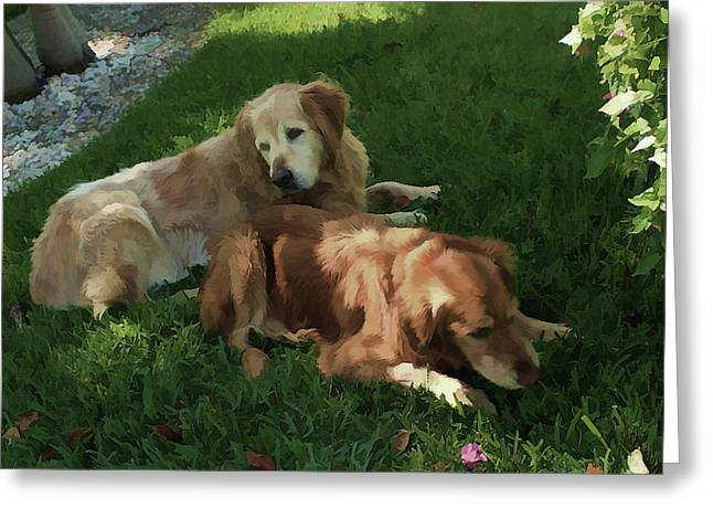 Bubba And Casey Greeting Card by Carol Kinkead