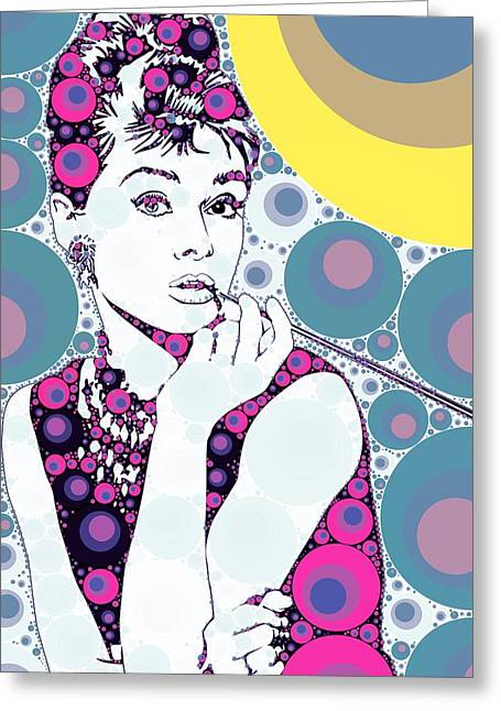 Bubble Art Audrey Hepburn Greeting Card