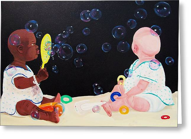 Bubble Babies Greeting Card by Susan Roberts