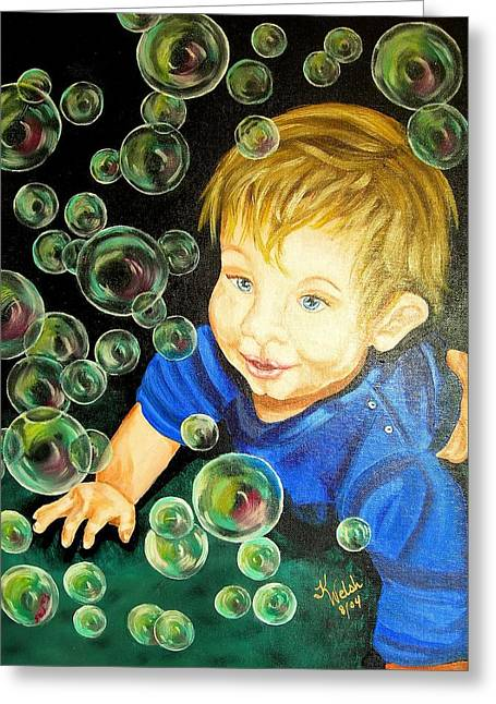 Bubble Baby Greeting Card by Kathern Welsh