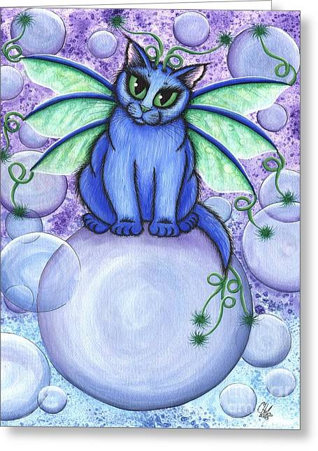 Bubble Fairy Cat Greeting Card by Carrie Hawks