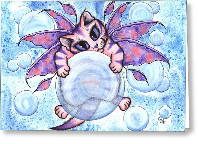 Bubble Fairy Kitten Greeting Card by Carrie Hawks