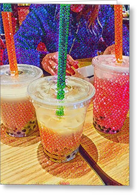 Bubble Tea For Three Greeting Card