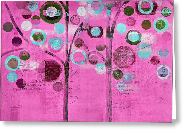 Bubble Tree Duo - 44pnk Greeting Card by Variance Collections