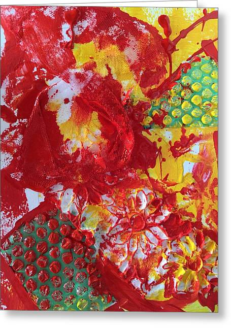 Greeting Card featuring the painting Bubble Wrap Plus by Karen bertha Calderon