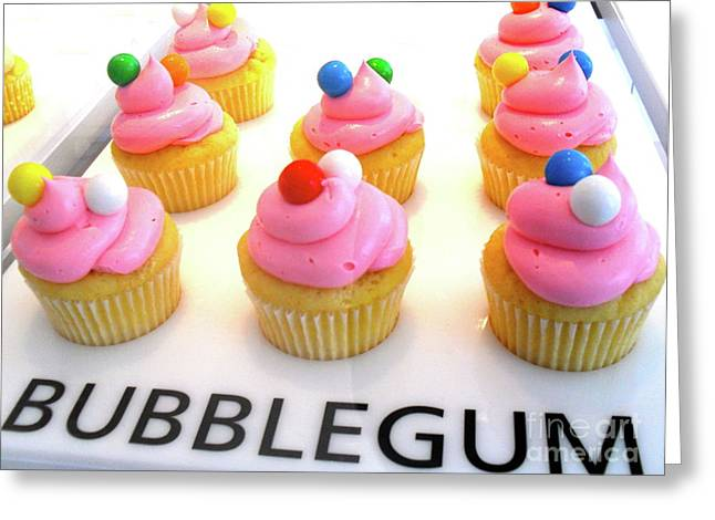 Greeting Card featuring the photograph Bubblegum Cupcakes by Beth Saffer