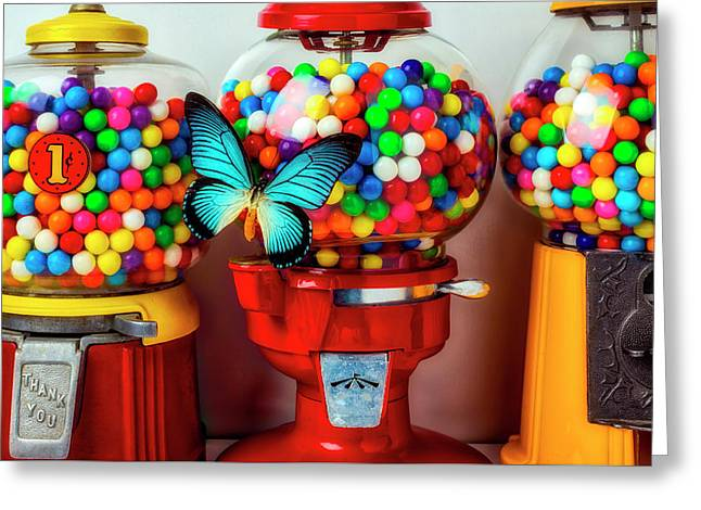 Bubblegum Machines And Butterfly Greeting Card