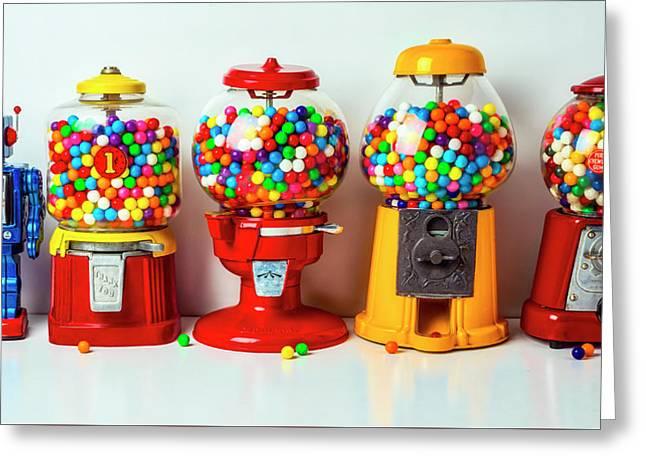 Bubblegum Machines And Robot Greeting Card