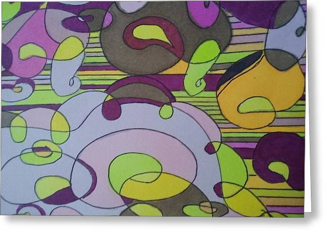 Bubblegum Greeting Card by Modern Metro Patterns and Textiles