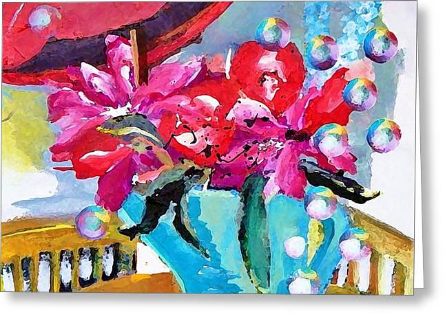 Bubbles And Flowers Greeting Card by Lisa Kaiser