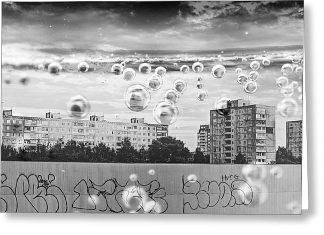 Bubbles And The City Greeting Card