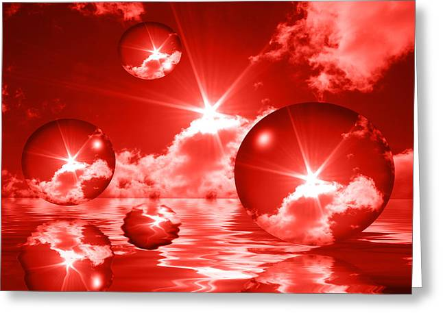 Greeting Card featuring the photograph Bubbles In The Sun - Red by Shane Bechler