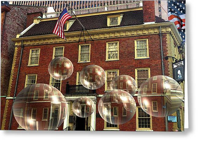 Bubbles Of New York History - Photo Collage Greeting Card