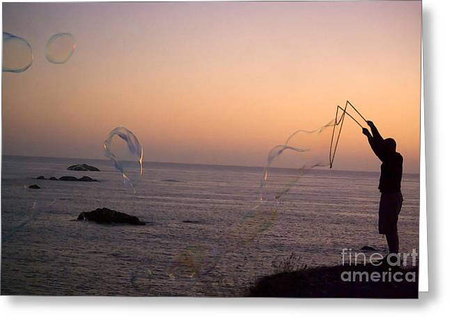 Bubbles On The Beach Greeting Card by Jim and Emily Bush