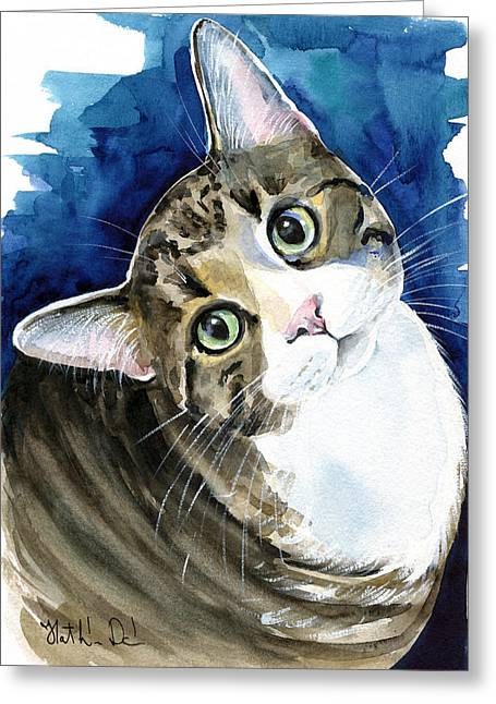 Bubbles - Tabby Cat Painting Greeting Card