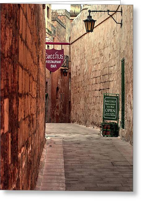 Greeting Card featuring the photograph Bacchus Restaurant And Bar Malta by Tom Prendergast