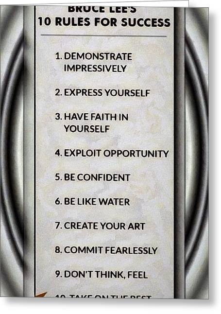 Buce Lee 10 Rules Of Success Greeting Card
