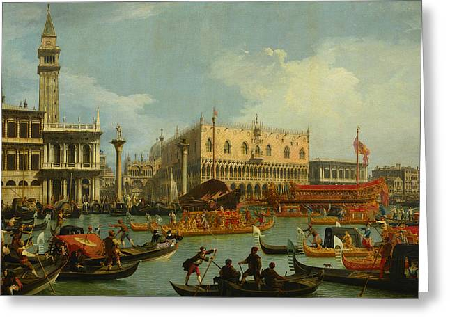 Bucentaur's Return To The Pier By The Palazzo Ducale Greeting Card by Canaletto