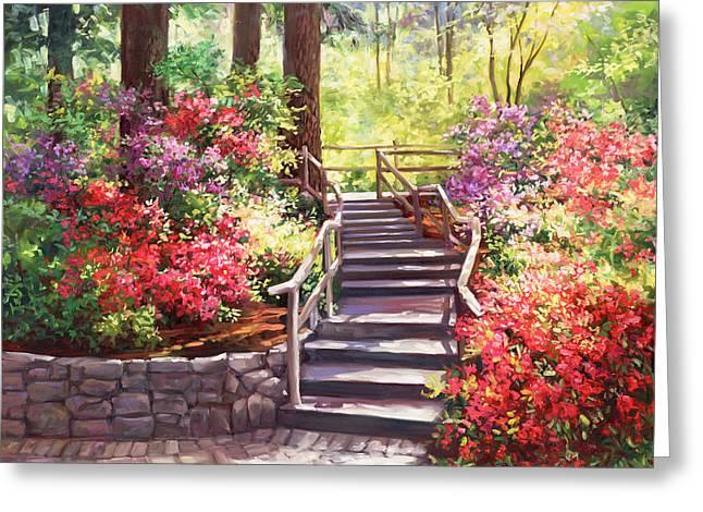 Buchart Garden Stairway Greeting Card by Laurie Hein