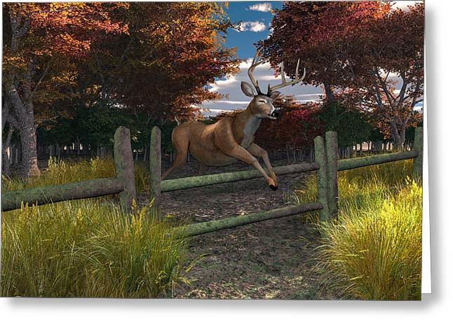 Buck Jumping Greeting Card by Mary Almond