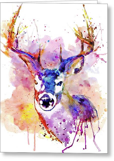 Greeting Card featuring the mixed media Buck by Marian Voicu