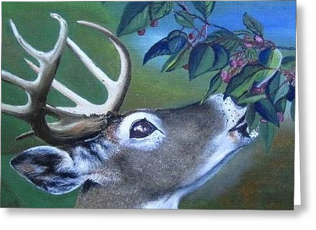 Greeting Card featuring the painting Buck by Mary Ellen Frazee