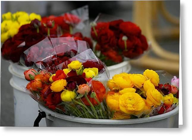 Bucket Of Flowers Greeting Card by Joyce Sherwin