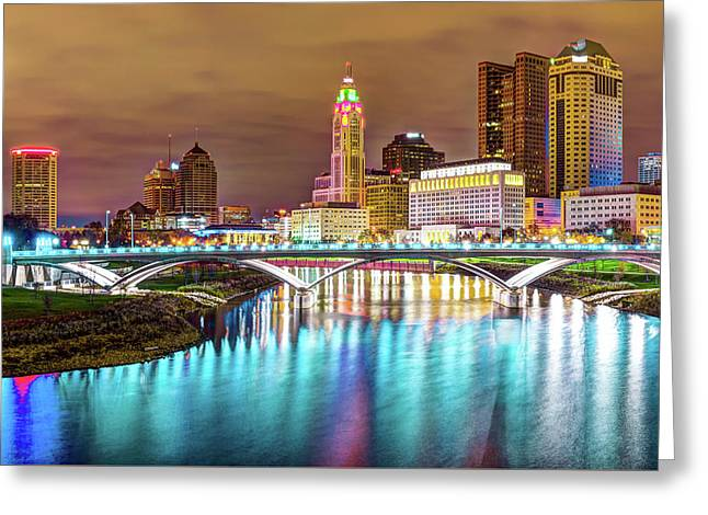 Buckeye Skyline - Columbus At Night On The Water Greeting Card