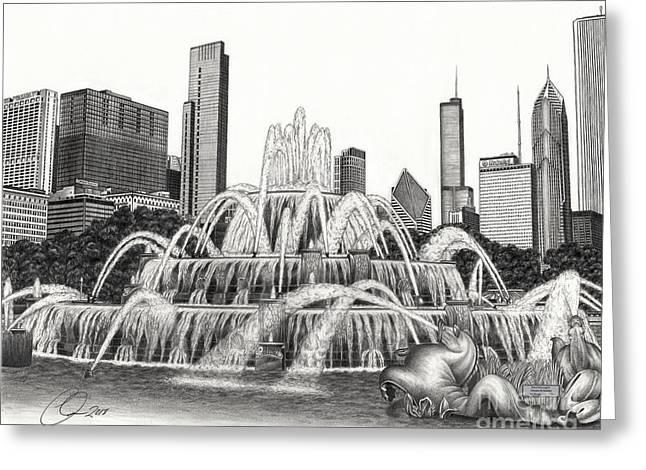 Buckingham Fountain Drawing Greeting Card